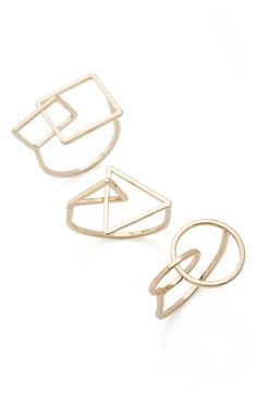 Main Image - Topshop 3-Pack Geo Rings