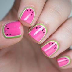 What do you get when you combine bright colors, summer, and a steady hand? The cutest watermelon nail art I've ever seen! See more of Sammy's nail art at T Fancy Nails, Love Nails, Pretty Nails, Uk Nails, Hair And Nails, Nail Art Designs, Nail Designs For Kids, Watermelon Nail Art, Watermelon Nail Designs