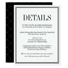 Simple and Elegant Wedding Details Card - typography gifts unique custom diy