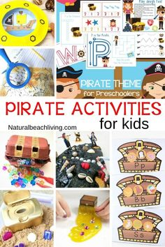 Pirate Activities for Kids - Fun and Unique Ideas - These Pirate Activities for kids are perfect for preschool and Kindergarten children to play with and create! You& have a blast right along with them. Pirate activities are great to add to an Un. Preschool Pirate Theme, Summer Preschool Themes, Preschool Math Games, Pirate Activities, Ocean Activities, Fall Preschool, Kindergarten Activities, Activities For Kids, Pirate Games