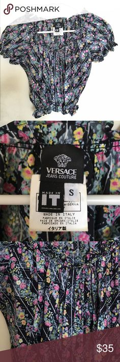 Versace Peasant Blouse✨Cropped Top Very flirty cropped cotton top from Versace Jeans. Like new condition. Made in Italy. Versace Tops Crop Tops
