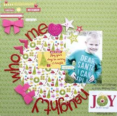 Bella Blvd Make It Merry collection. Naughty Who Me layout by creative team member Jennie McGarvey.