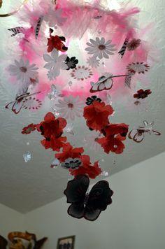 Hot Pink/White/Black Butterfly mobile Nursery Decor by Sastara, $58.00