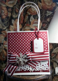 Stampin' Up! Paper Bag Crafts, Christmas Paper Crafts, Christmas Gift Bags, Christmas Wrapping, Paper Gifts, Paper Bags, Christmas Decor, Decorated Gift Bags, Decorated Envelopes