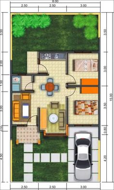 43 Home Interior Design Type 36 Ideas 26 3d House Plans, Model House Plan, Small House Plans, Small House Design, Modern House Design, Home Design Plans, Home Interior Design, Affordable Bedroom Sets, Three Bedroom House Plan