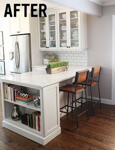 Clever Peninsula With The Bookshelf, And The Glass Door Cabinets And Subway  Tile. Bookshelf For Cookbooks