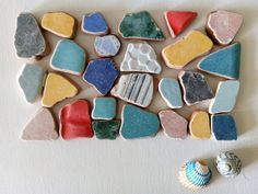 Multicolor Large Sea Pottery, Tile Shards 26 pieces Sea Snail, Snail Shell, Sea Urchin Shell, Euro Coins, Thing 1, Art Projects, Mosaic, Tile, Pottery