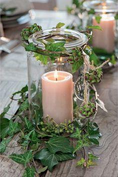 Deco Table Champetre, Ballon Diy, Wedding Car Deco, Xmas, Christmas, Yule, Pillar Candles, Floral Arrangements, Candle Holders