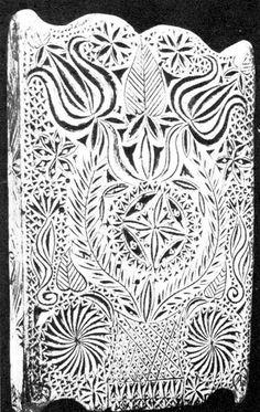 Mosósulyok nagy páros tulipánokkal, rozettákkal, közepében leveles ágból koszorú (Mákófalva, v. Kolozs m.)