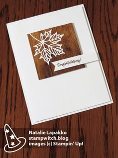 Clean and simple card by Natalie Lapakko featuring Seasonal Layer dies and Wood Textures DSP from Stampin' Up!