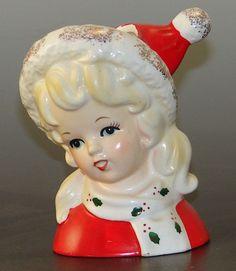 1964 Christmas Girl Mini Head Vase Inarco E-1247