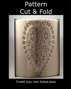 CUT & FOLD Book Folding Pattern ~ HEART FLOWER                                                                                                                                                      More
