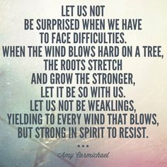 Facing difficulties with resilience. #suffering #faith Amy Carmichael quote.