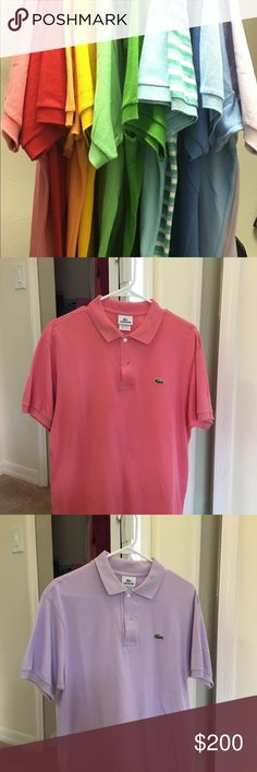 Men's Lacoste Polos - Lot of 10 Lot of 10 Polos. All size 5. Smoke free, pet free home. Red, orange, lavender, green, stripes, light blues, salmon Lacoste Shirts Polos