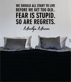 Marilyn Monroe Fear Is Stupid So Are Regrets Quote Decal Sticker Wall Vinyl Decor Art