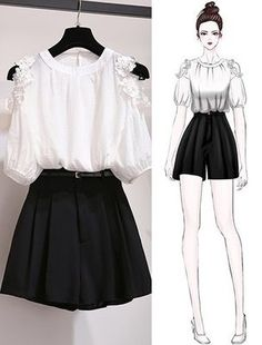 56 ideas fashion sketches shorts for 2019 Girls Fashion Clothes, Teen Fashion Outfits, Mode Outfits, Cute Fashion, Asian Fashion, Look Fashion, Girl Fashion, Fashion Ideas, Stage Outfits