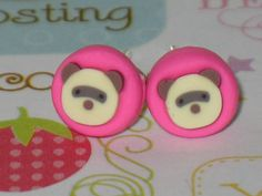 Uni Brow Bear Stud Earrings 7mm Polymer Clay by DIYArtMart on Etsy