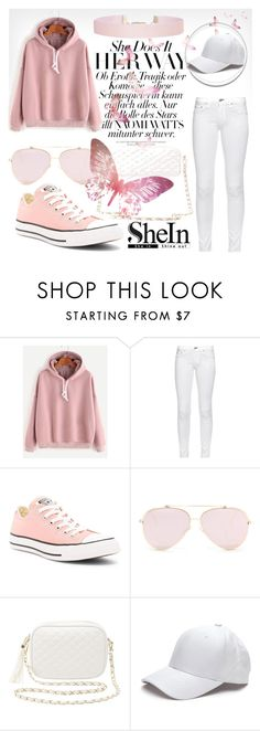 """Pink Hooded Drop Shoulder Sweatshirt"" by rachella-xoxo ❤ liked on Polyvore featuring rag & bone, Converse, Charlotte Russe and Humble Chic"
