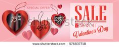 Sale discount banner for Valentines Day. Valentine's Day Sale Vector. Special offer poster with heart balloons, price tag marketing background. Love flyer, banner coupon, voucher. Typography Gift card