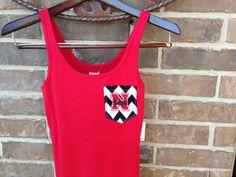 NEBRASKA CORN HUSKERS Red White and Gray Game Day Monogrammed Pocket Tank on Etsy, $25.00