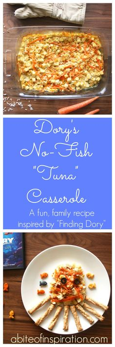 """This delightful """"Finding Dory"""" recipe is delicious fun for kids and adults alike! A creamy, easy dump and bake casserole that your whole family will love!"""