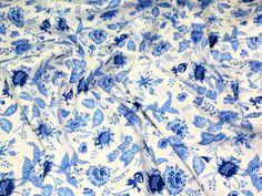 Blue & White Floral Jardin Stretch Cotton Sateen Dress Fabric | Fabric | Dress Fabrics | Minerva Crafts