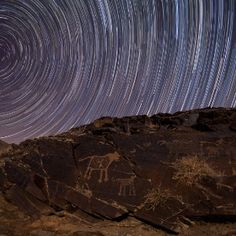 Teimareh petroglyphs and star trails in the Zagros Mountains of central Iran.
