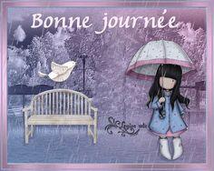 Bonne journée, parc, gorjus, parapluie, pluie, paysage, animé