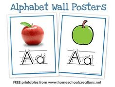 FREE alphabet flash cards and full sized alphabet wall posters to use with your children {home or classroom use. Show letter formation and also have images to help with beginning sounds - via homeschoolcreations.net