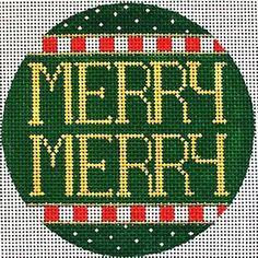 "NEEDLEPOINT Handpainted Amanda Lawford CHRISTMAS ORNAMENT Merry Merry 3"" 18M"