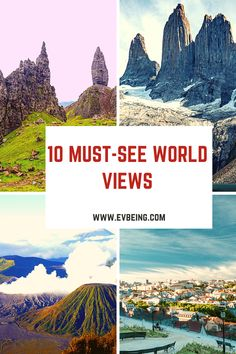 Best World Views • 10 Must-See World Views • World Views • EvBeing See World, World View, Torres Del Paine National Park, Travel Guides, Travel Tips, Best Sunset, Worldwide Travel, Travel Aesthetic, Wanderlust Travel