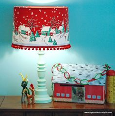 Christmas lamp shade from vintage tablecloth by My So-Called Crafty Life