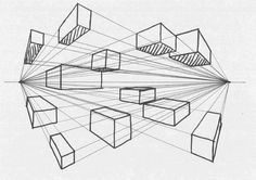 Drawing Perspective: Two-Point Perspective Linear Perspective Drawing, Perspective Sketch, One Point Perspective, Geometric Shapes Art, Illusion Drawings, Architecture Concept Drawings, Drawing Exercises, Elements Of Art, Art Drawings Sketches
