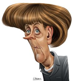 Angela Merkel by Ricardo Galvão via Behance Caricature From Photo, Funny Caricatures, Funny Photos, Disney Characters, Fictional Characters, Behance, Disney Princess, Globe, Portraits