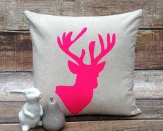 Cushion Cover Linen Cotton Neon Pink Stag 45x45cm Natural Sand Colour via Etsy