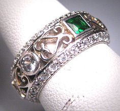 Vintage Emerald Diamond Eternity Band Ring by AawsombleiJewelry