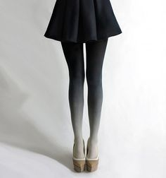 Ombre black n white tights