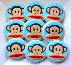 I want to make these to match my footie pajamas! Monkey Cookies, Cute Cookies, Cupcake Cookies, Sugar Cookies, Cupcakes, Paul Frank, Cookie Designs, Cookie Ideas, Baby Boy 1st Birthday