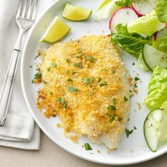 Crunchy Oven-Baked Tilapia Recipe -This baked tilapia is perfectly crunchy. Dip it in the fresh lime mayo to send it over the top. —Leslie Palmer, Swampscott, Massachusetts