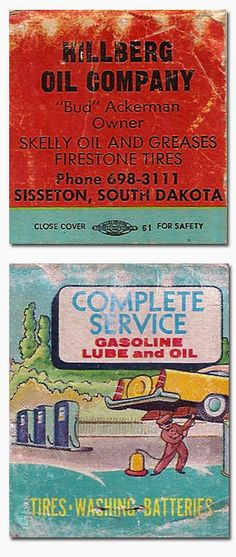 Hillberg Oil Co. Gasoline Lube and Oil #Matchbook To Design and Order your Business' own advertising #matches GoTo GetMatches.com