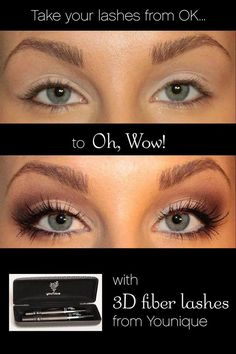 Younique 3-D Fiber Lashes, applied in two steps, $29 set. https://www.youniqueproducts.com/Clementina