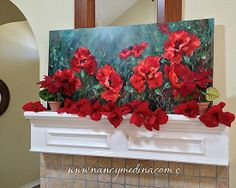 Lava Red Poppies by Nancy Medina, 24X48, Oil on Gallery Wrap Canvas www.nancymedina.com