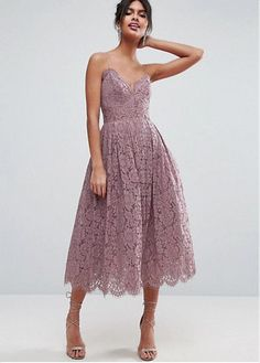 Romantic Lace Spaghetti Straps Neckline Tea-length A-line Bridesmaid Dress