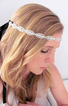 Love this headband!!!! The Natalie  Silver Rhinestone and Beaded Tie by AcuteDesigns, $43.00
