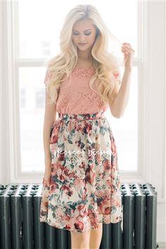 Cream Burgundy Pink Floral Modest Skirt