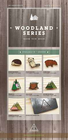 """Hug A Porcupine has recently launched our latest collection, titled """"The Woodland Series"""". Inspired by the forest and alongside it's little creatures! We have 7 brooches behind this collection: Forest Bear, Treehouse, Tree Stump, Raccoon, Hedgehog, Summer Mountain, Autumn Mountain. Available at our physical store and online store: http://shop.thelittledromstore.com/category/hug-a-porcupine © All designs and photos are copyrighted by Hug A porcupine."""