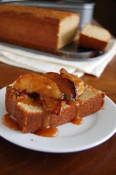 Brown Sugar Almond Pound Cake with Sauted Spiced Apples