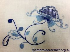 Deerfield embroidery stitched by Margaret Kelemen - Embroiderers' Guild ACT