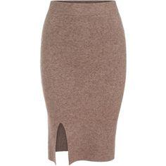 SheIn(sheinside) Camel Slim Split Knit Skirt