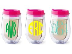 Personalized+Bev2go+stemless+wine+glass+Pink+lid+by+Dawlens,+$13.00
